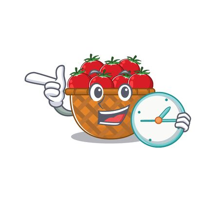 Cheerful tomato basket cartoon character style with clock