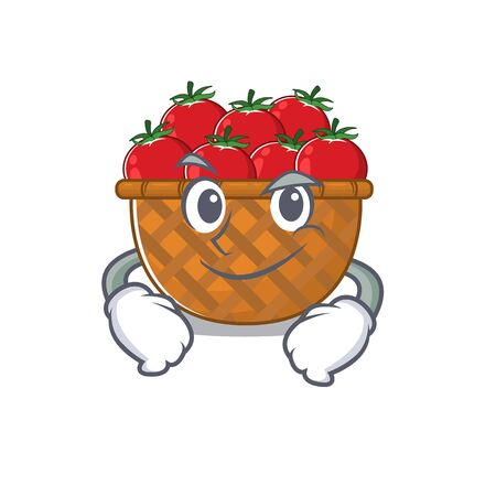 Funny tomato basket mascot character showing confident gesture