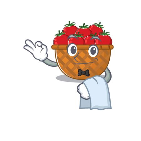 A design of tomato basket cartoon character working as waiter