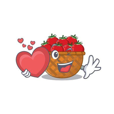 A romantic cartoon design of tomato basket holding heart