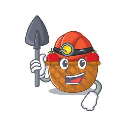 Cool miner worker of tomato basket cartoon character design. Vector illustration
