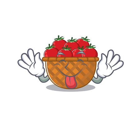 Funny face tomato basket mascot design style with tongue out. Vector illustration
