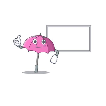 cute pink umbrella cartoon character Thumbs up bring a white board