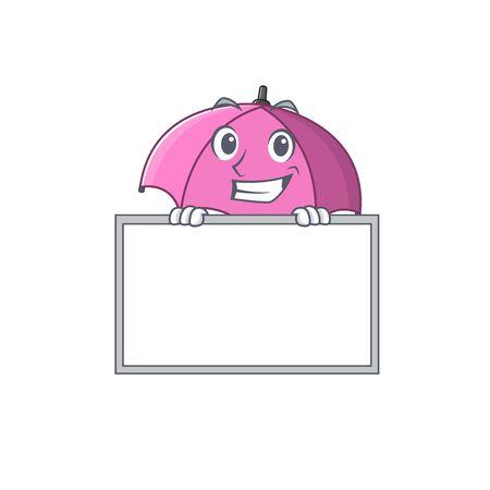 Smiley pink umbrella cartoon character style bring board