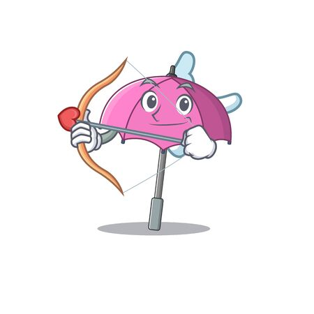 Romantic picture of pink umbrella Cupid cartoon character with arrow and wings