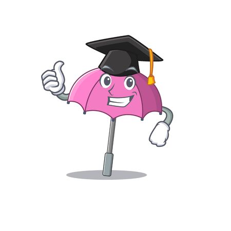 A picture of pink umbrella with black hat for graduation ceremony 向量圖像