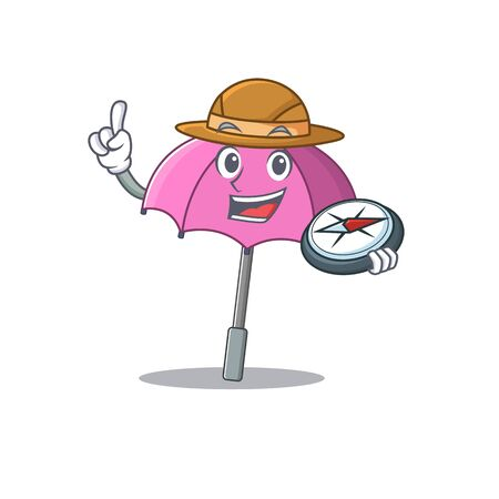 Pink umbrella an experienced explorer with a compass Illustration