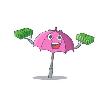 happy face pink umbrella character having money on hands