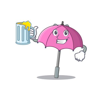 Cheerful pink umbrella mascot design with a glass of beer