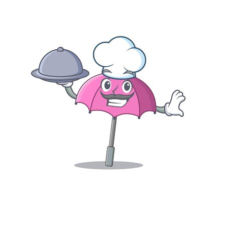 Pink umbrella as a chef cartoon character with food on tray