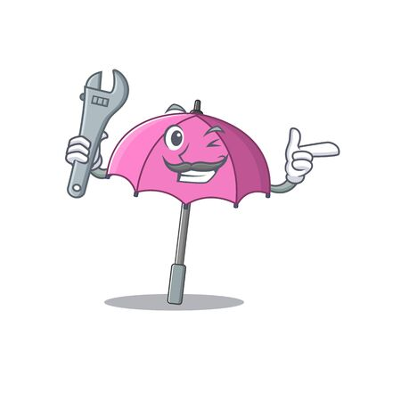 A picture of cool mechanic pink umbrella cartoon character design