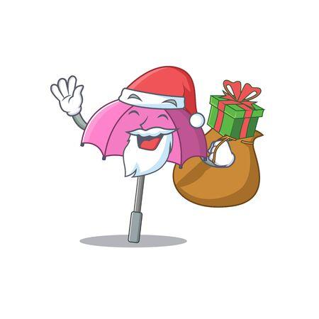 Santa pink umbrella Cartoon character design with box of gift