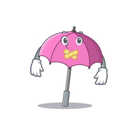 Pink umbrella mascot cartoon character design with silent gesture