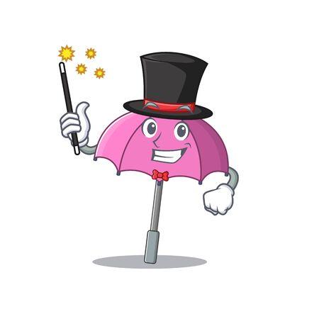 Charming pink umbrella cartoon design performance as a Magician style