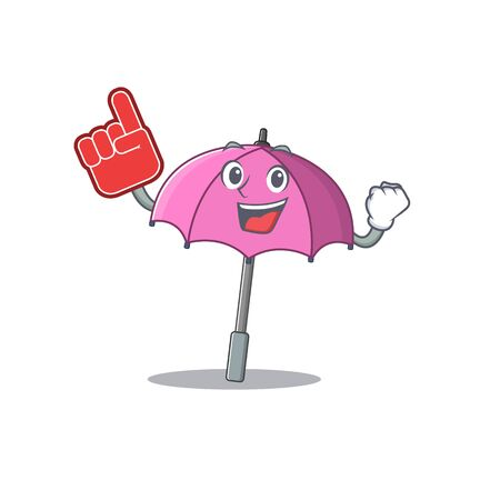 Pink umbrella mascot cartoon style with Foam finger Illustration