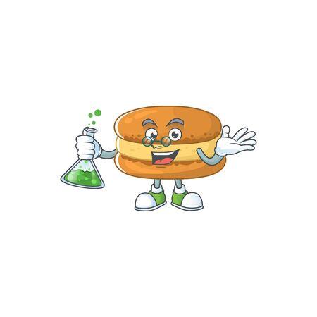 Chocolate macarons brainy Professor Cartoon design grasp a glass tube. Vector illustration