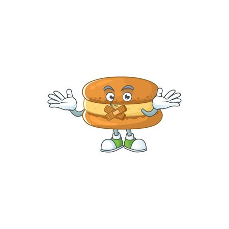 Chocolate macarons cartoon character design concept showing silent gesture. Vector illustration
