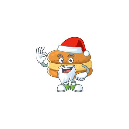 Chocolate macarons cartoon character of Santa showing ok finger. Vector illustration