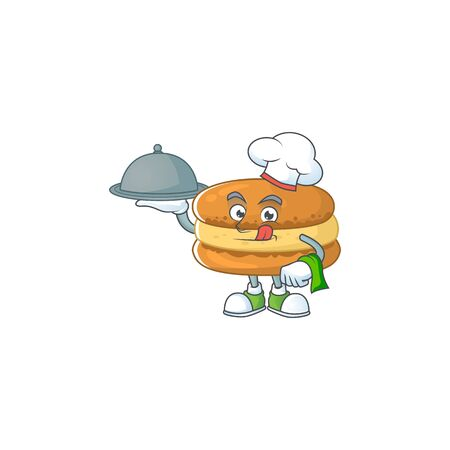 chef cartoon character of chocolate macarons with food on tray. Vector illustration Ilustração