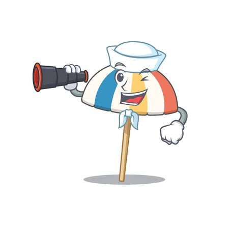 Beach umbrella in Sailor cartoon character design with binocular