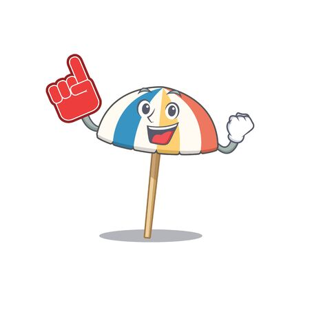 Beach umbrella mascot cartoon style with Foam finger