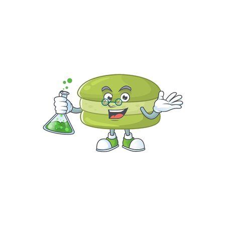 Coconut macarons brainy Professor Cartoon design grasp a glass tube. Vector illustration