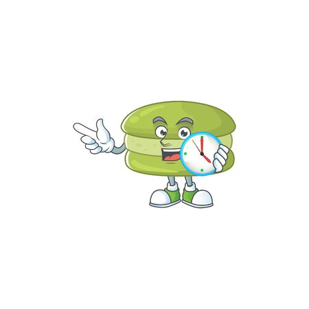 cartoon character style of cheerful coconut macarons with clock. Vector illustration