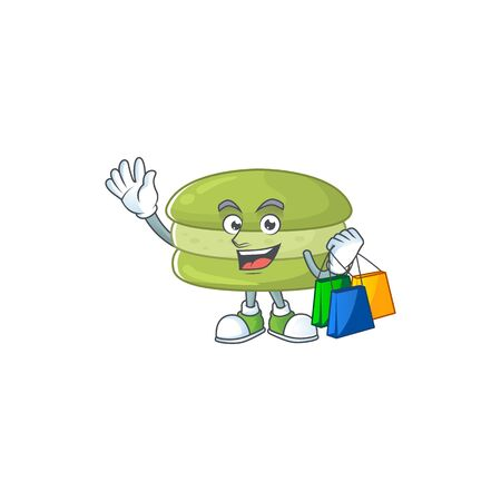 Smiley rich coconut macarons mascot design with Shopping bag. Vector illustration 向量圖像