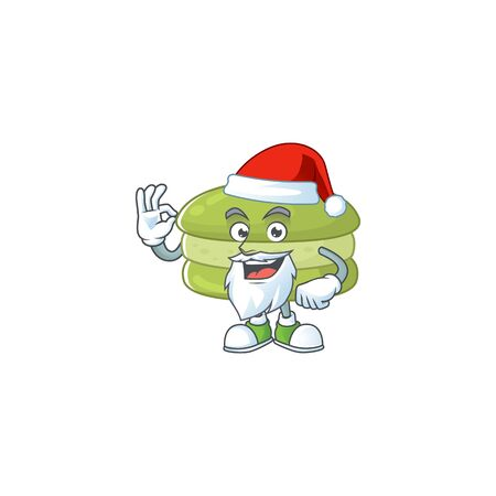 Coconut macarons cartoon character of Santa showing ok finger. Vector illustration Ilustracja