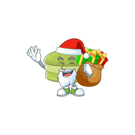 Coconut macarons Cartoon character of Santa with box of gift. Vector illustration Ilustracja