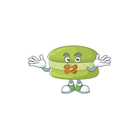 Coconut macarons cartoon character design concept showing silent gesture. Vector illustration Ilustracja