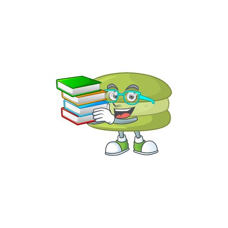 A hard-working student in coconut macarons cartoon design with book. Vector illustration
