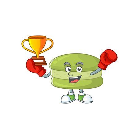 Happy face of boxing winner coconut macarons in mascot design style. Vector illustration