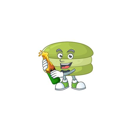 mascot cartoon design of coconut macarons with bottle of beer. Vector illustration Ilustracja