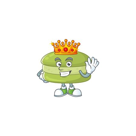 A Charismatic King of coconut macarons cartoon character design. Vector illustration