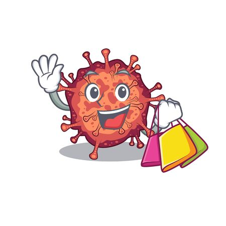 Happy rich contagious corona virus mascot design waving and holding Shopping bag