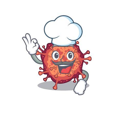 Cute contagious corona virus cartoon character wearing white chef hat