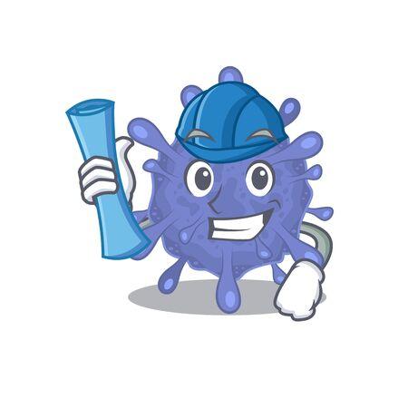 Smiling Architect of biohazard viruscorona having blue prints and blue helmet Ilustrace