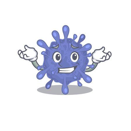 Happy face of biohazard viruscorona mascot cartoon style