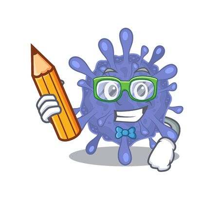 A smart student biohazard viruscorona character with a pencil and glasses Ilustrace