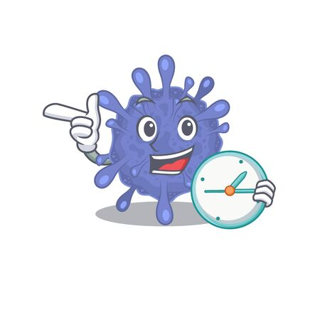 Cheerful biohazard viruscorona cartoon character style with clock Ilustrace