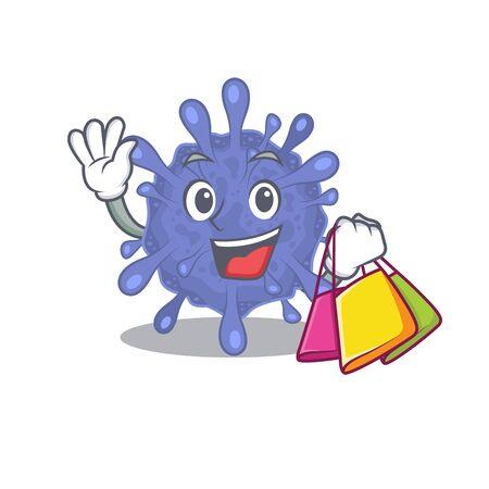 Happy rich biohazard viruscorona mascot design waving and holding Shopping bag