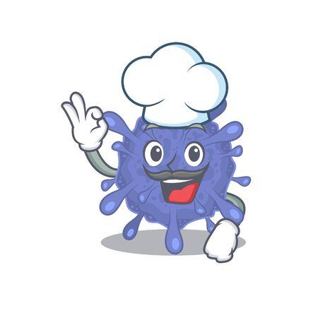Cute biohazard viruscorona cartoon character wearing white chef hat Ilustrace