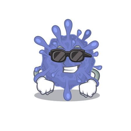 Super cool biohazard viruscorona mascot character wearing black glasses