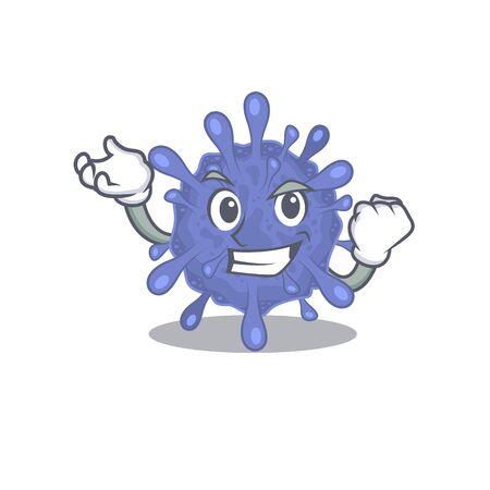 Biohazard viruscorona cartoon character style with happy face