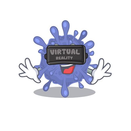 A picture of biohazard viruscorona character with Virtual reality headset Ilustrace