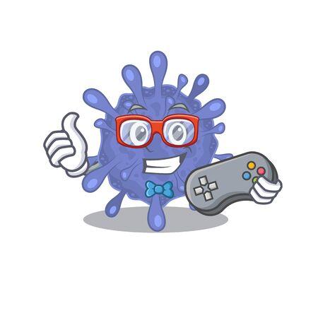 Cool gamer of biohazard viruscorona mascot design style with controller Ilustrace