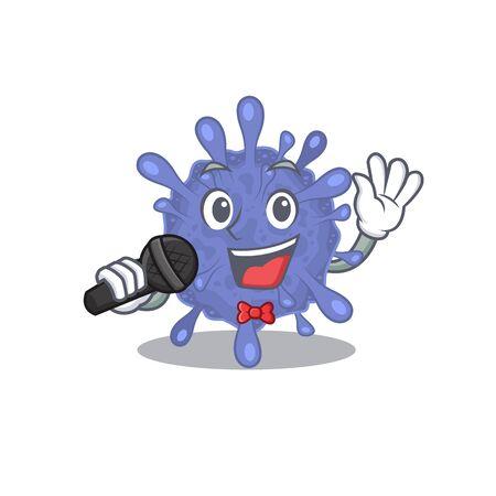 Cute biohazard viruscorona sings a song with a microphone