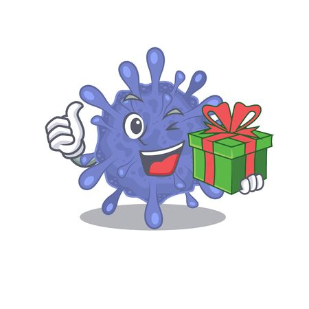 Smiley biohazard viruscorona cartoon character having a gift box Ilustrace