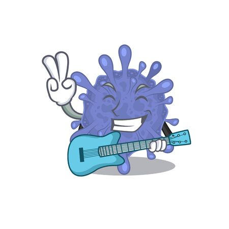 Supper cool biohazard viruscorona cartoon playing a guitar Ilustrace